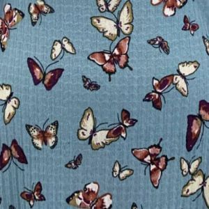 Eggshell Blue Caramel Butterfly Pattern Printed Poly Pointelle Fabric