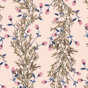 Blush Coral Medium Botanical  Floral Printed on Double-Sided Brushed DTY Stretch Fabric