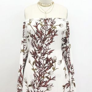 Off White Gull Gray Floral Botanical  Pattern Printed on Poly Moroccan Fabric
