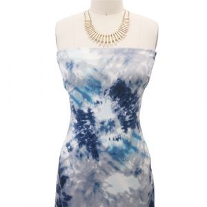 Navy Aqua Tie Dye Ombre Pattern Printed Poly Rayon Jersey Knit Fabric