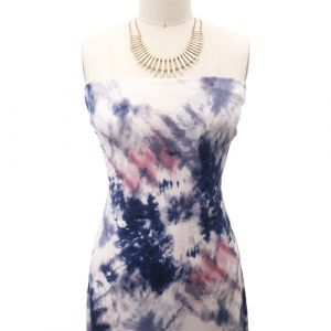 Navy Mauve Tie Dye Ombre Pattern Printed Poly Rayon Jersey Knit Fabric
