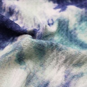Denim Mint Tie Dye Ombre Pattern Printed Waffle Non Brushed Knit Fabric by the Yard