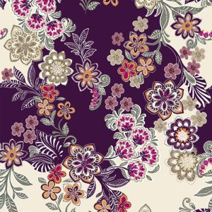 Eggplant Gold Floral Designed Printed on Double-Sided Brushed DTY Fabric by the Yard