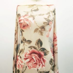 Taupe Paprika Big Floral Pattern Printed on Stretch Power Mesh Fabric