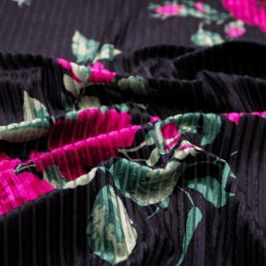 Black Magenta Large Floral Prints on Velvet Burn Out Rib Fabric by the Yard