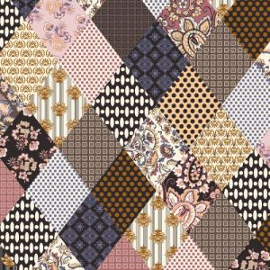 Chocolate Dusty Pink Medallion Pattern Printed on Double-Sided Brushed DTY Stretch Fabric