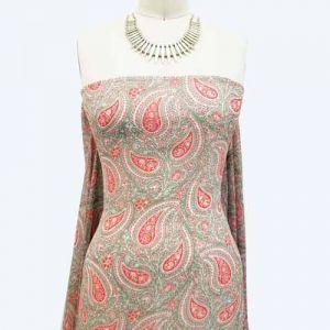 Sage Terracotta Paisley Pattern Printed on Hi-Multi Chiffon Fabric