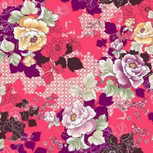 Coral Mauve Floral with Shadow Pattern Printed on Double-Sided Brushed DTY Stretch Fabric