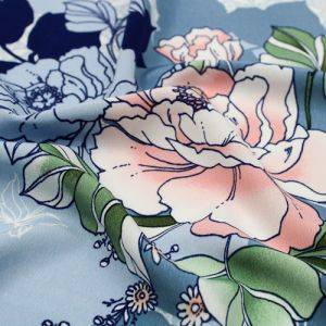 Sky Blue Apricot Large Floral with Shadow Pattern Printed Poly Moroccan Fabric by the Yard