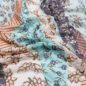 Dusty Berry Mint Floral Bohemian Pattern Printed Poly Power Mesh Fabric by the Yard