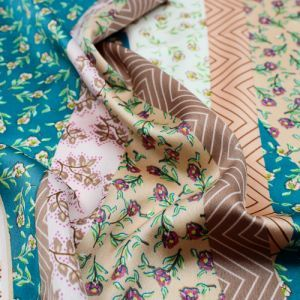 Peacock Peach Floral Patchwork Scarf Pattern Printed Stretch Satin Fabric by the Yard