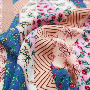 Denim Steel Pink Mint Floral Pattern Printed Rayon Crepon Fabric by the Yard