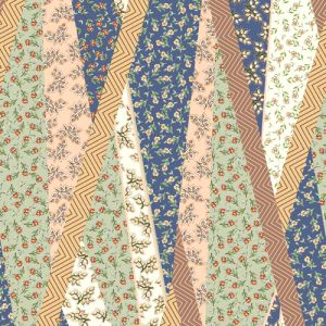 Parisian Blue with Sage Floral Pattern Printed Rayon Crepon Fabric by the Yard