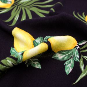 Black with Lemon Fruit Conversational Pattern Printed Rayon Crepon Fabric by the Yard
