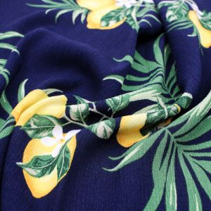 Navy with Lemon Fruit Conversational Pattern Printed Rayon Crepon Fabric by the Yard