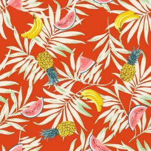 Spice Orange Banana Conversational Pattern Printed on Bubble Chiffon Fabric