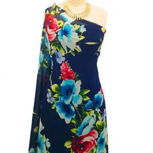 Navy Turquoise Watercolor Floral Prints on Hi Multi Chiffon Washed