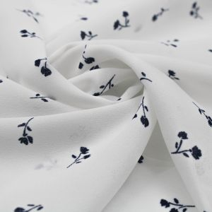 Offwhite with Navy Ditsy Floral Design Printed  Wool Dobby Fabric