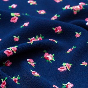 Navy with Rose Ditsy Floral Design Printed Bubble Chiffon Fabric by the Yard
