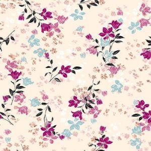 Champagne  Mauve Floral Pattern Print Hi-Multi Chiffon Washed Fabric