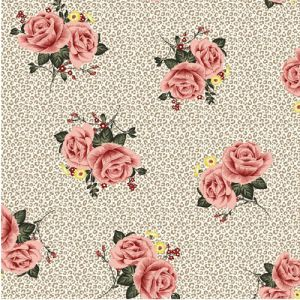 Taupe Blush Floral with Animal Skin Pattern on Double-Sided Brushed DTY Fabric