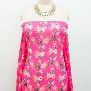 Fuchsia Pink Small Flowers Pattern Printed on Hi-Multi Chiffon Fabric