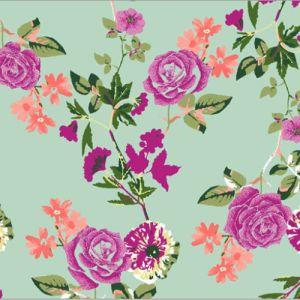 Mint Pink Small Flowers Pattern Printed on Hi-Multi Chiffon Fabric