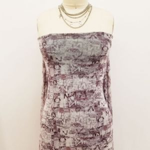Dusty Lavender Mauve Conversational Pattern Printed Poly Power Mesh Fabric by the Yard
