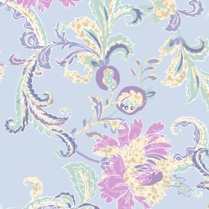 Baby Blue Orchid Floral Pattern Printed Stretch Poly Power Mesh Fabric