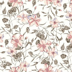 Off White Coral  Medium Floral Pattern Printed on Rayon Crepon Fabric