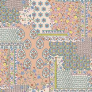 Peach Blue Floral Patchwork Pattern Printed on Stretch Satin Fabric