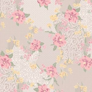Blush Pink Large Floral Pattern Printed on Stretch Satin Fabric