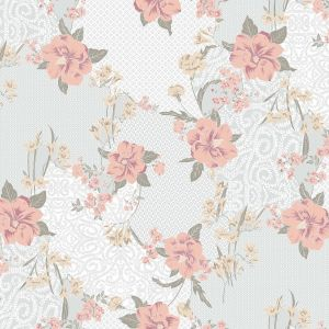 Silver Blush Large Floral Pattern Printed on Stretch Satin Fabric