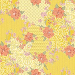 Yellow Cantaloupe Large Floral Pattern Printed on Stretch Satin Fabric