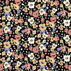 Black Dusty Coral Ditsy Floral Pattern Printed on Poly Power Mesh Fabric