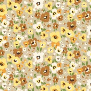Taupe Dusty Orange Ditsy Floral Pattern Printed Poly Power Mesh Fabric