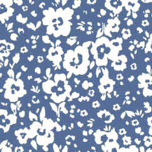 Chambray Off White Ditsy Flowers Design Printed Stretch Satin Fabric by the Yard
