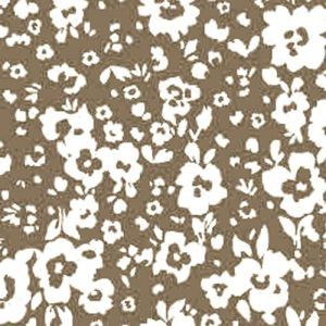 Taupe Off White Ditsy Flowers Design Printed Stretch Satin Fabric by the Yard