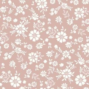 Blush Offwhite Ditsy Floral Pattern Printed on Rayon Crepon Fabric