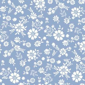 Eggshell Offwhite Ditsy Floral Pattern Printed on Rayon Crepon Fabric