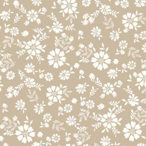 Taupe Offwhite Ditsy Floral Pattern Printed on Rayon Crepon Fabric
