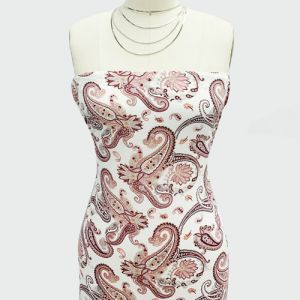 """Ivory Coral Paisley Design Printed 55"""" Light-Weight Rayon Challis Fabric"""