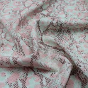 "Mocha Pink Snake Skin Design Printed 55"" Light-Weight Rayon Challis Fabric by the Yard"