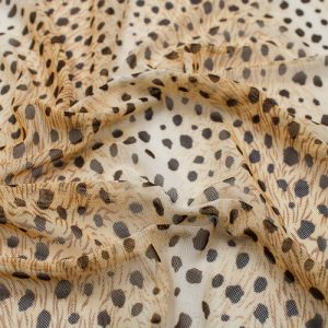 Gold Brown Animal Skin Pattern Printed Poly Power Mesh Fabric by the Yard