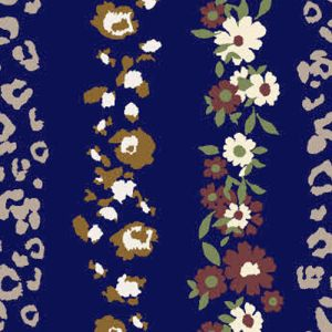 Navy Cinnamon Floral with Animal Pattern Printed on Poly Rayon Jersey Knit Fabric