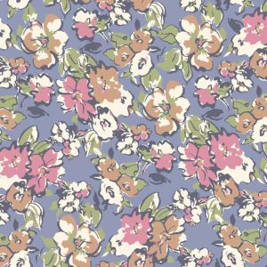 Blue Rose Floral  Garden Printed on Stretch Satin Fabric