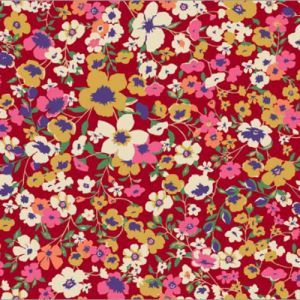 Red Gold Ditsy Floral Pattern Printed on Poly Rayon Jersey Knit Fabric