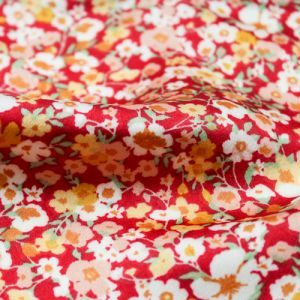 Red Peach Floral Garden Printed on Stretch Satin Fabric by the Yard