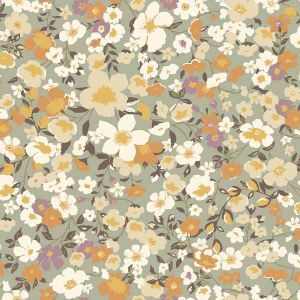 Sage Apricot Floral Garden Printed on Stretch Satin Fabric