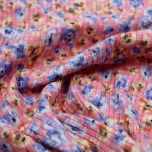 Pink Peri Ditsy Floral Pattern Printed Poly Cotton 4X2 Rib Knit Fabric by the Yard